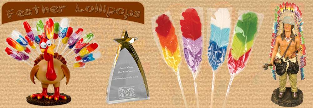 Feather Lollipops with Turkey or Indian Headress Displays - Squire Boone Village