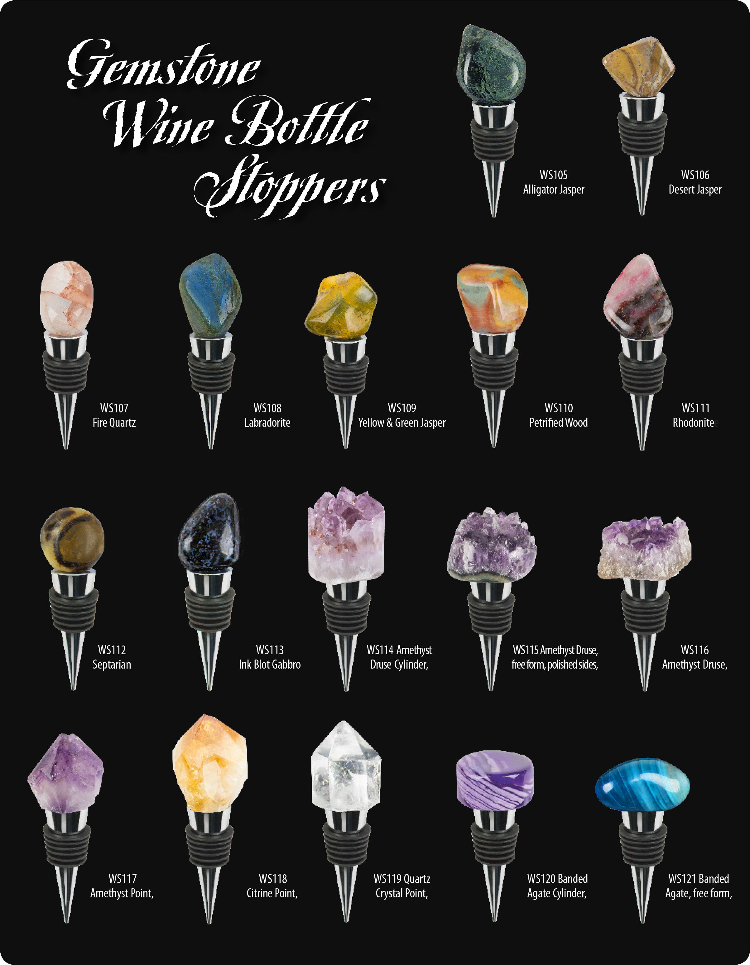 Gemstone Wine Bottle Stoppers Ad