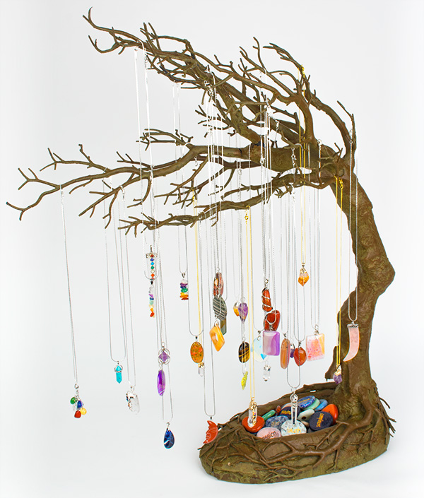 Gemstone Pendants Windswept Tree Display Ad